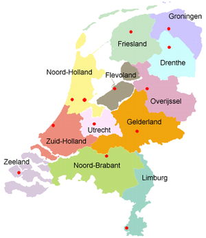 Provinciekaart Nederland